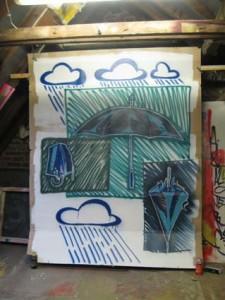 Regenschirm-Studie auf Pappe ca. 1,90 x 2,30 m